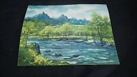 Vintage HANS AXEL WALLEEN A.W.S. WATERCOLOR PAINTING Print River & Mountains