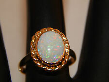 Vintage Natural Australian OPAL Solitaire Engagement Ring 3.0ct 14k Yellow Gold
