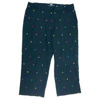 BRIGGS New York Black Polka Dots Capri Short Pants Women Size 14 Colorful Dots