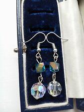 VINTAGE STUNNING FACETED CRYSTAL & BLUE AURORA BOREALIS GLASS LINK DROP EARRINGS