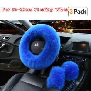 Gem Blue Wool Fur Protector Cover For Car Steering Wheel/Gear Knob/Parking Brake