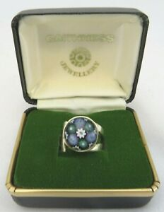Vintage Boxed Sterling Silver Caithness Millefiori Ring, UK Size I