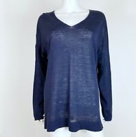 Ann Taylor Size XL Knit Top Linen Blend V Neck Long Sleeve Navy Blue