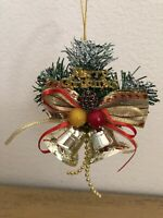 Vintage Merry Christmas Bells Greenery Corsage Christmas Ornament
