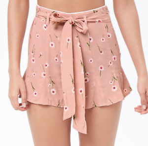 Ditsy Floral Ruffle Shorts Flutter Self-Tie High Waisted Blush Pink NWT L