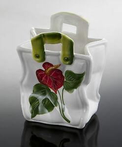 BASSANO Blumenvase mit Dekor Anthurie 14,5x9 Ausgefallene italienische Keramik