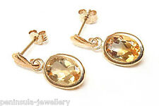 9ct Gold Citrine oval Drop Earrings Gift Boxed Made in UK