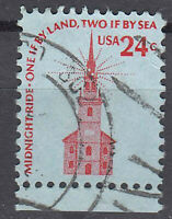 USA Briefmarke gestempelt 24c Midnight ride Rand unten Rundstempel / 777