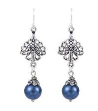 Womens Silver Dangly Earrings Blue Bead