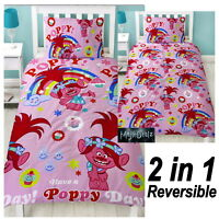 TROLLS DREAMS POPPY SINGLE DUVET COVER SET ROTARY PINK GIRLS BEDDING NEW GIFT