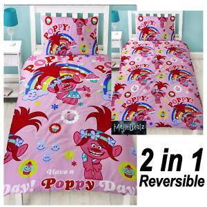 TROLLS DREAMS POPPY SINGLE DUVET COVER SET ROTARY PINK GIRLS BEDDING NEW GIFT