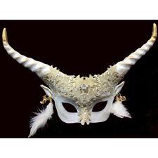 HORNED DEVIL FAUN COSTUME HALF FACE MASK HORNS VENETIAN MYSTICAL SPIRIT ANIMAL