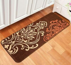 Handwoven Decorative Floral 45x120cm Bedside/Kitchen Runner Made Of Cotton-Brown