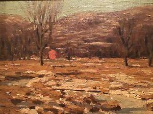 RARE~1914 JOHN W BENTLEY WOODSTOCK CATSKILLS NY WINTER LANDSCAPE OIL PAINTING