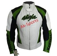 Men's Motorcycle Biker Leather Jacket, Padded Jacket, White Green Jackets