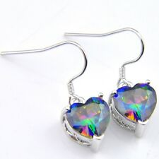 Romantic Heart Style Natural Rainbow Mystic Fire Topaz Silver Dangle Earrings