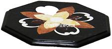 "12"" Black Marble Center Coffee Table Top Rare Mosaic Jasper Inlay Restaurent Art"