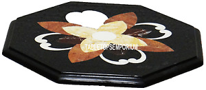 """12"""" Black Marble Coffee Table Top Rare Mosaic Jasper Inlaid Art Occasional Gifts"""