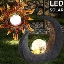 2er Set LED Solar Lampen Sonne Mond Steck Außen Erdspieß Garten Leuchten Balkon
