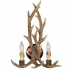 Rustic Deer Horn Antler Wall Sconce 2 Light Fixtures Cabin Hunter Decor New