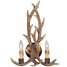 Rustic Deer Horn Antler Wall Sconce 2 Light Fixtures Cabin Hunter Decor New