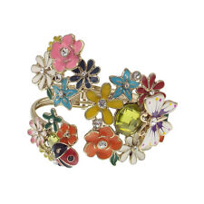 Ladybug Butterfly Flower Garden Summer Bracelet Bangle Cuff Multicolor Enamel 3d