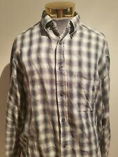 Banana Republic 100% Island Linen Checkered Men's Button Down Size Large