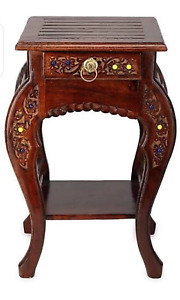 Handcrafted Solid Wood Side Table, Traditional Side Table, Handmade Wooden Table