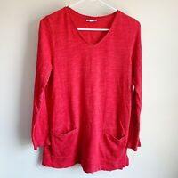 J Jill Red V-neck Pocket Long Sleeve Tunic Blouse Sweater Top Size Small