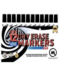 12 Pack Dry Erase White Board Markers Fine Point Tip Black Set Teachers Kids New