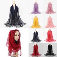 Women Lace Scarf Shawl Tassel Party Wedding Scarves Muslim Hijab Head Wraps Hair