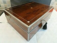 VICTORIAN 19thC INLAID ROSEWOOD BOX - RELINED INTERIOR - LOCK & KEY