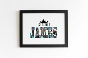 Personalised A4 Print Kids Room Gift Any Name Fortnite Themed Frame Not Included