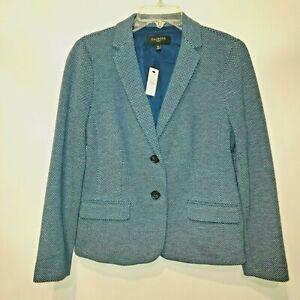 Talbots NWT Petite 10P Blue White Dot Pattern Blazer $139 Tag Cotton Spandex