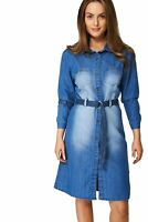 Ladies New Blue Denim Collared Button Down Longsleeve Belted Jean Womens Dress