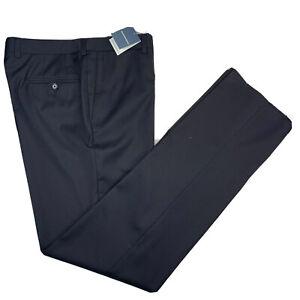 New 34 Bullock & Jones Black Super 120's Wool Slim Fit Nano Performance Pants