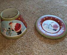 Yankee Candle Christmas Shade Plate Set Santa  Snowman