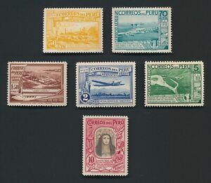 PERU STAMPS 1936-1937 ST ROSA DE LA LIMA HIGH VAL to 10p INC Sc #C38 #C39 MOG VF