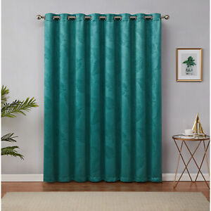 """Embossed Blackout Drape Curtain with Grommets for Patio Doors, Teal 102"""" x 96"""""""