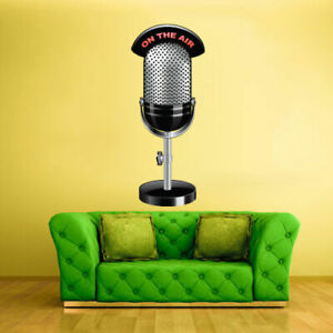 Full Color Wall Decal Sticker Music Microphone Song Notes Artist decor (Col410)