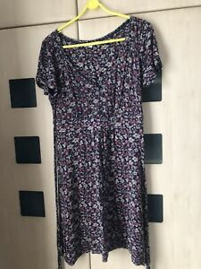 Fat Face Navy  Blue Floral Jersey Short Sleeve Dress Size  14. Tie Back Good Con