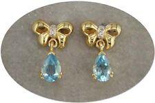 18 KT GOLD OVER STERLING SILVER BLUE TOPAZ & DIAMOND EARRINGS