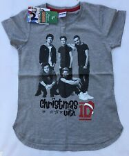 Girls Grey Short Sleeve T Shirt with One Direction & Christmas detail