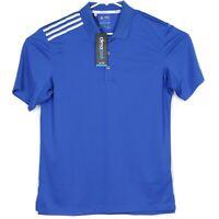 NWT Adidas Climacool Mens Golf Polo Shirt Size M Blue White Stripes Shoulder NEW