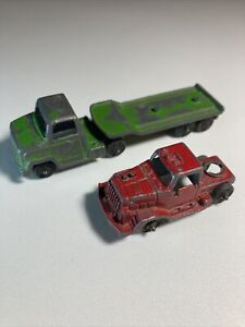 TOOTSIE TOY Loose Lot x2 Chevrolet Flatbed Semi Truck Trailer Green Red Cab USA
