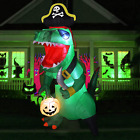 GOOSH 7 FT Tall Halloween Inflatables Outdoor Pirate Dinosaur, Blow Up Yard Deco