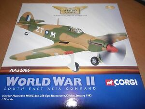 CORGI AVIATION 1:72 HAWKER HURRICANE MK IIC NO 258 SQN RACE COURSE CEYLON 1943