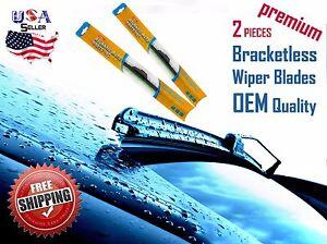 """24"""" & 24"""" INCH Pair Bracketless Windshield Wiper Blades J-HOOK Premium OEM"""