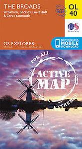 OL40 The Norfolk Broads Laminated Active Explorer Map OL 40