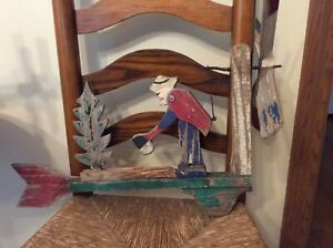 Antique vintage wood whirligig Lumberjack Axe Wood Folk Art Works Christmas Tree